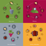 Wine flat 4 icons composition circles Stock Photography