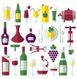 Wine flat icons set. Stock Image