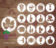 Wine Flat Icons Set On Wooden. Royalty Free Stock Images