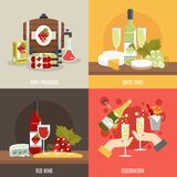 Wine Flat Set Royalty Free Stock Photography