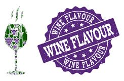 Wine Flavour Collage of Wine Bottles and Grape and Grunge Stamp vector illustration