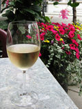 Wine and Flowers. Glass of white wine on patio table Stock Photos