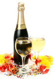 Wine and flowers Royalty Free Stock Photos