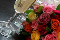Wine & Flowers. Wine and Flowers together to indicate romance and a special occasion Royalty Free Stock Photo