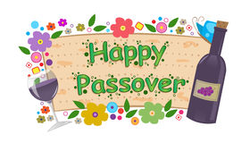Wine and Flowers Passover Banner. Happy Passover banner with flowers, bottle and wine glass. Eps10 Stock Photography