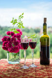 Wine and flowers. Still life with wine and flowers Stock Photos