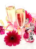 Wine and flowers Royalty Free Stock Images