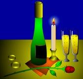 The Wine, flowerses, wedding ring Stock Photo