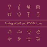 Wine and food pairing icons Stock Images