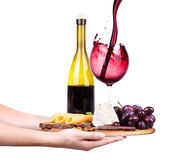 Wine and food with waiter hand Royalty Free Stock Images