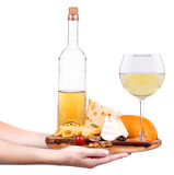 Wine and food with waiter hand Royalty Free Stock Image