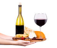 Wine and food with waiter hand Stock Photo