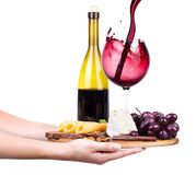 Wine and food with waiter hand Stock Images