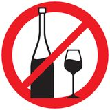 Wine forbidden. Symbol, no alcohol, prohibition icon, no wine sign Stock Image