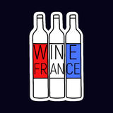 Wine France tree bottle with red and blue, white color of flag royalty free stock photos