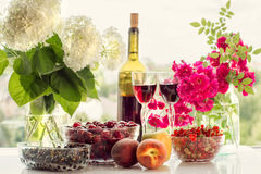 Wine, fruit, berries and flowers. Royalty Free Stock Photography