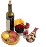 Wine and fruit.1. Wine bottle, glass, apples, gingerbreads and strawberry Royalty Free Stock Photo
