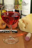 Wine Fruit & Cheese. This is an image of wine, fruit, and cheese stock photography