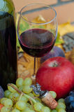 Wine and fruit. Red wine and assorted fruits on a background of autumn leaves Royalty Free Stock Photos