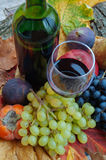 Wine and fruit. Red wine and assorted fruits on a background of autumn leaves Stock Photography