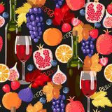 Wine and fruit seamless Royalty Free Stock Photos