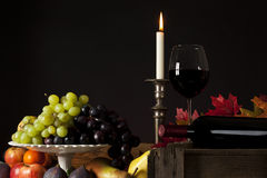 Wine and fruit still-life Stock Images