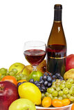 Wine and fruit - still life on white background Royalty Free Stock Photography