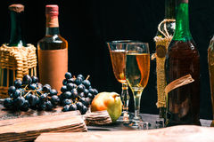 Wine and fruit table close up Royalty Free Stock Photos