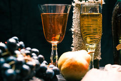 Wine and fruit table close up Royalty Free Stock Image
