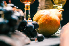 Wine and fruit table close up Stock Photo