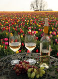 Wine, fruit and tulip flowers Stock Image