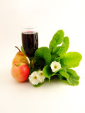 Wine and fruits. Red Wine, fruits  and flowers Royalty Free Stock Images