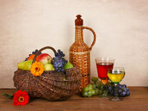 Wine, fruits and flowers Stock Photo