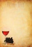 Wine in frutta dell'uva e di vetro su vecchio documento Immagini Stock