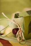 Wine Gift. Green theme wine and gift bag Stock Photo