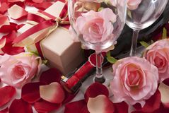 Wine and gift Stock Images