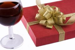 Wine and Gift Box Royalty Free Stock Photography