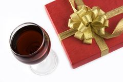 Wine and Gift Box Royalty Free Stock Images