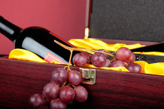Wine in gift box Stock Photography