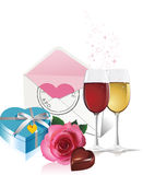 Wine, gift box and rose. stock illustration