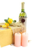 Wine, gift, candles Stock Photo