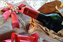 Wine and gift Stock Photos