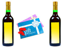 Wine and gift vouchers. Isolated on white background Stock Image