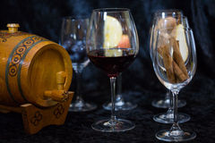Wine glases, aromatic barrel, cinnamon, tasting Royalty Free Stock Photo