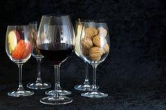 Wine glases, aromatic barrel, cinnamon, tasting Stock Photos