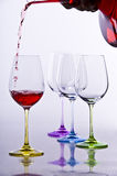 Wine glases with decanter. And red wine Stock Photography