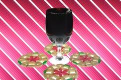 Wine glass. Glass of wine and beautiful decorative background Stock Photo