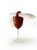 Wine glass. Red crystal wine glass with white napkin Stock Photo