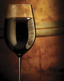 Wine glass. With lable reflection Royalty Free Stock Photos