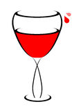 Wine glass. Red Wine in glass on isolated background - illustration Stock Images